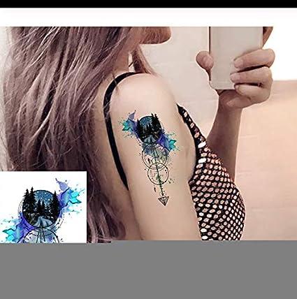LFVGUIOP Moda 3D Acuarela Bosque Ancla Flecha Tatuajes Mujeres ...