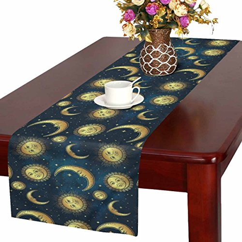 InterestPrint Boho Celestial Bodies Gold Sun Moon and Stars Table Runner Linen & Cotton Cloth Placemat Home Decor for Kitchen Dining Wedding Party 16 x 72 Inches ()