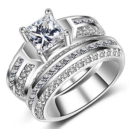 Womens Wedding Engagement Bands Ring Sets 18K White Gold Plated Princess Cut Eternity Solitaire CZ Crystal Best Anniversary Promise Shinning Rings Size 7