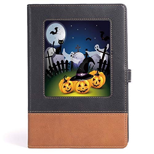Halloween - Funny Cartoon Design with Pumpkins Witches Hat Ghosts Graveyard Full Moon Cat Decorative - 100 Ruled Sheets - - A5/6.04x8.58 in