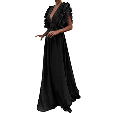 7ad0e92141 Women Sexy Maxi Dress Fashion Wedding Cocktail Party Vintage Retro Backless  Elegant Ball Gown Event Black