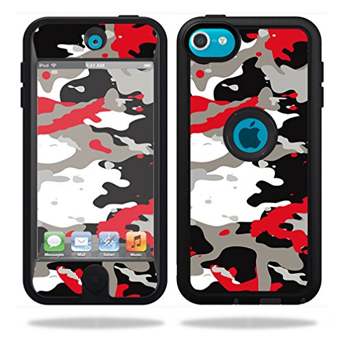 MightySkins Protective Vinyl Skin Decal for OtterBox Defender iPod Touch 5G Case wrap cover sticker skins Red Camo