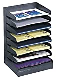 Desk Organizer Tray by Safco Featuring Rubber Feet, Eight-Tier Slanted Shelves and Stainless-Steel Construction, Black, Best for School or Office
