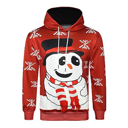 kaifongfu Mens Sweatershirt Hooded Top Long Sleeve Winter 3D Christmas Shirt (Red,XL) from kaifongfu-Men clothes