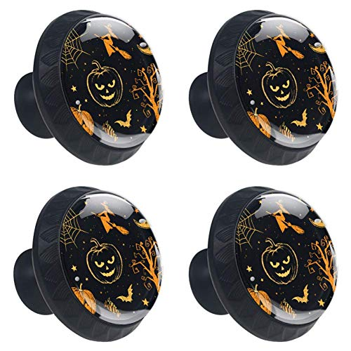 Anmarco Halloween Pumpkin Spider Drawer Knobs Pull Handles 30MM 4 Pcs Glass Cabinet Drawer Pulls for Home Kitchen Cupboard -