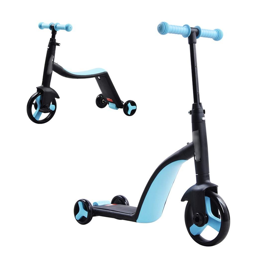 Kinderscooter Kinder Roller 3-Rad-yo Auto 3-6 Jahre alt können drei-in-einem-Multifunktions-Kinderscooter Sicherheit stabile Pedal Rutsche einzigen Fuß langlebig tragenden starken Roller sitzen Blau 702956cm