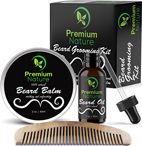 Beard Grooming Kit for Men - Beard Care Gift Sets Best Mustache and Beard Growth Natural Beard Oil Beard Softener Conditioner Balm Butter And Wooden Comb Best Gift Idea for Men Premium Nature