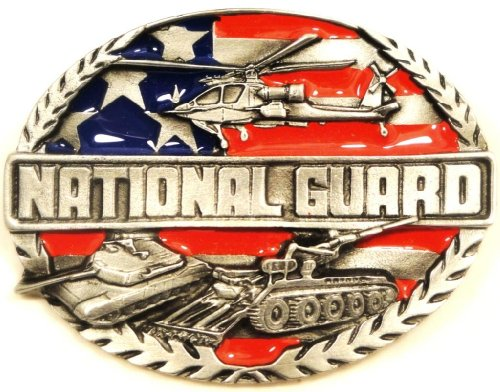 NATIONAL GUARD PEWTER BELT BUCKLE MADE IN USA BY SISKIYOU