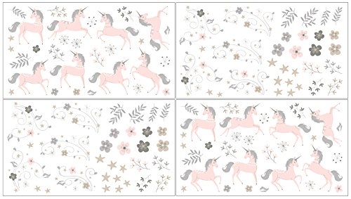 Sweet JoJo Designs Pink, Grey and Gold Peel and Stick Wall Decal Stickers Art Nursery Decor for Unicorn Collection - Set of 4 Sheets -