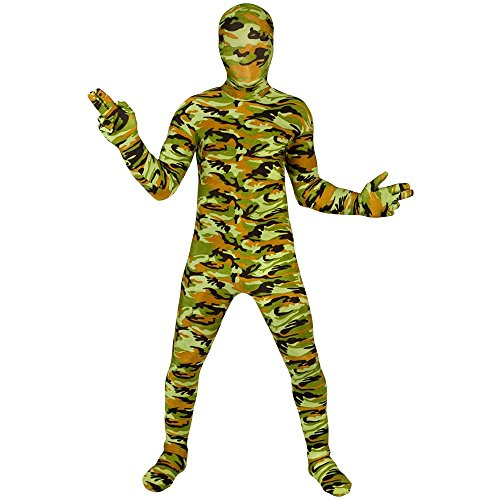 Commando Kids Morphsuit Costume - size Medium 3'6-3'11 (105cm-119cm) - Skin Suit Camo Child Costumes