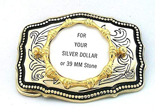 39mm Round Silver Dollar Cabochon Western Gold Color Belt Buckle Mounting CF11 (Dollar Buckle)