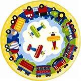 Trucks and Planes Rug – 39″ Round, Baby & Kids Zone