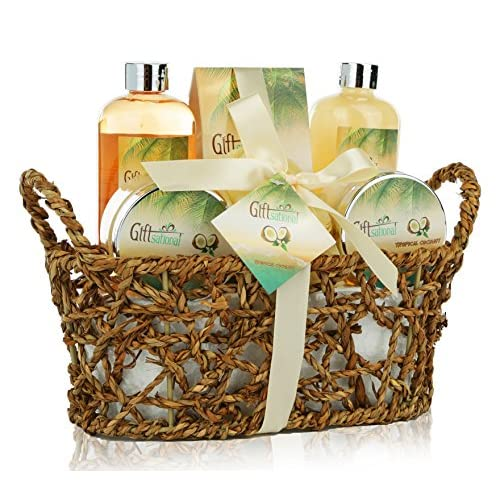 Spa Gift Basket With Rejuvenating Tropical Coconut Fragrance In Cute Woven