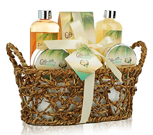 Spa Gift Basket with Rejuvenating Tropical Coconut Fragrance in Cute Woven Basket - Includes Shower Gel, Bubble Bath, Body Lotion and More! - Perfect Wedding Anniversary or Birthday Gift Set for Women