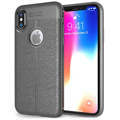 EDIVIA iPhone X Case Grey Silicone, TPU Gel Leather Back Effect Auto Focus Case Cover for Apple iPhone X, Lightweight Protective iPhone X tpu cover - Slim