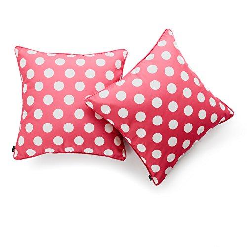 Hofdeco Decorative Throw Pillow Cover INDOOR OUTDOOR WATER RESISTANT Canvas Hot Pink Dots 18