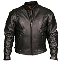 Leather Motorcycle Jacket (Black, Size 42)