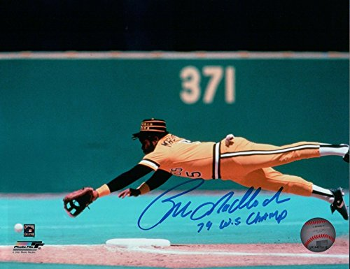"""Bill Madlock Signed 8X10 Photograph """"79 WS Champ"""" Auto Diving Pirates Blue COA from Cardboard Legends Online"""