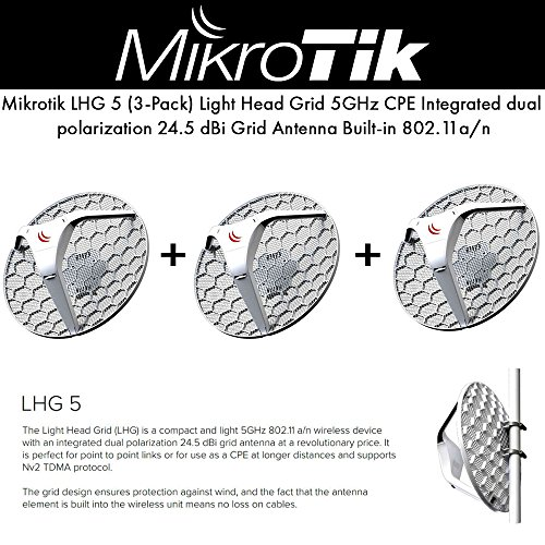 Mikrotik LHG 5 (3-Pack) Light Head Grid 5GHz CPE integrated 24.5 dBi grid antenna PoE 6W by Mikrotik