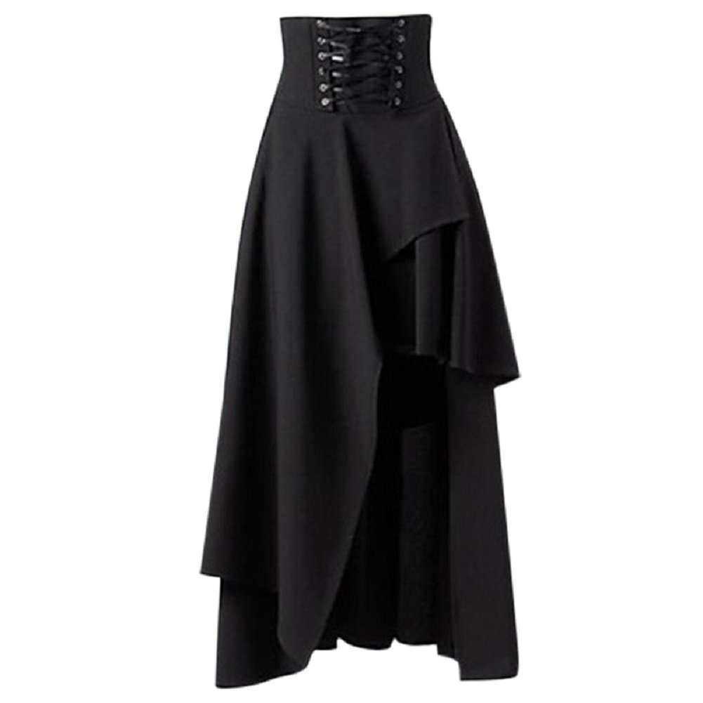 Women's Victorian Steampunk Asymmetrical High Waist Ruffle Hem Gothic Lolita Band Retro Long Cocktail Maxi Skirt