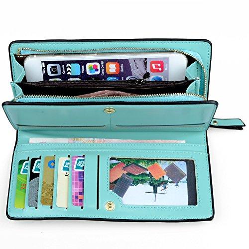 Green Coin Card Medium Card Wallet Purse Size Long Gottowin Women Handbag Holder Leather PU Clutch Green Mint Organizer Cellphone qUnF0