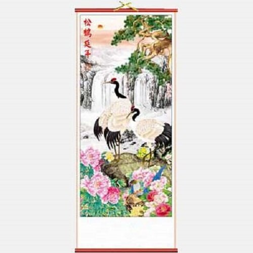 Chinese Wall Scroll - Cranes & Waterfall for Longevity - Feng Shui