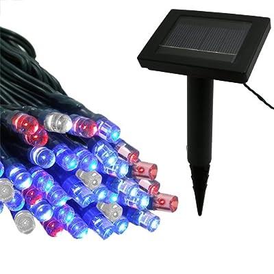 Flipo Solar 100 LED String Light, Red, White and Blue