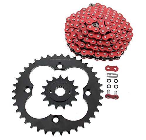 Red O-Ring Chain & Black Sprocket fits 1999-2004 Fits Honda 400EX TRX400EX 15/38 94L ()