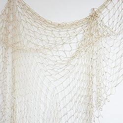 Bilipala Fishing Net, Fishing Net Decor, Wall Decor, Nautical Style, 75 Inch, Creamy White