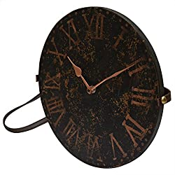 Thanksgiving Gifts Decorative Round Wooden Wall Clock Bohemian Rustic Country Style Black Brown With Leather Strap 11 Inch