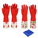 Dishwashing Gloves, Non-slip Household Kitchen Cleaning Gloves with Lining Natural Rubber Gloves(2-Pairs) Includes FREE 1 Pack Cleaning Cloth