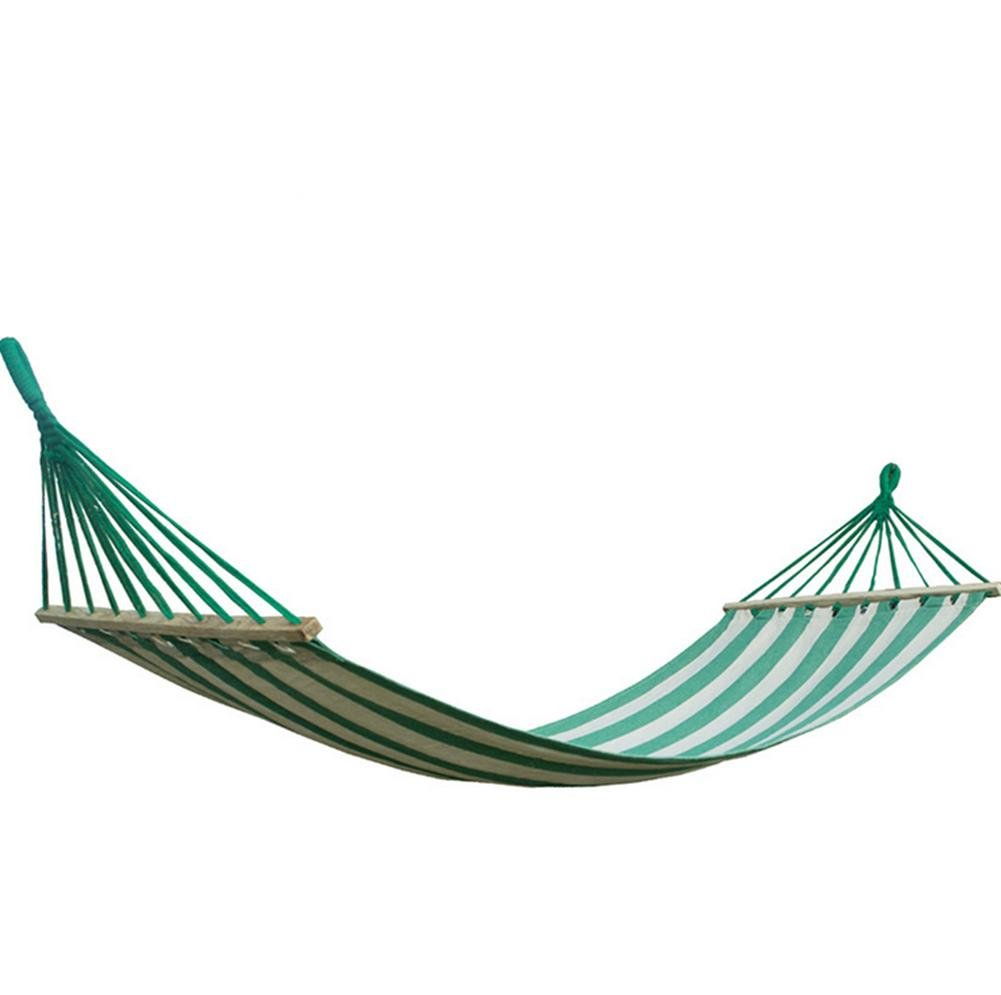 DZW Leinwand Farbe Streifen mit Holz Hängematte Hängematte Indoor-Outdoor-Freizeit