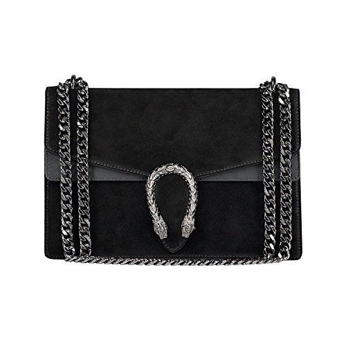 RACHEL Italian Baugette clutch mini wallet cross body bag with nickel chain smooth stiff leather and suede (black) (Gucci Bag)