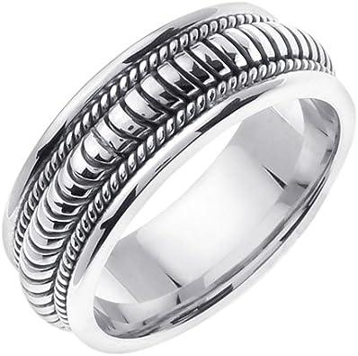 Plata de Ley mano trenzado anillos de boda banda para hombres ...