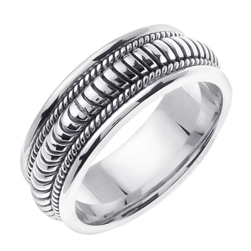 Plata de Ley mano trenzado anillos de boda banda para ...