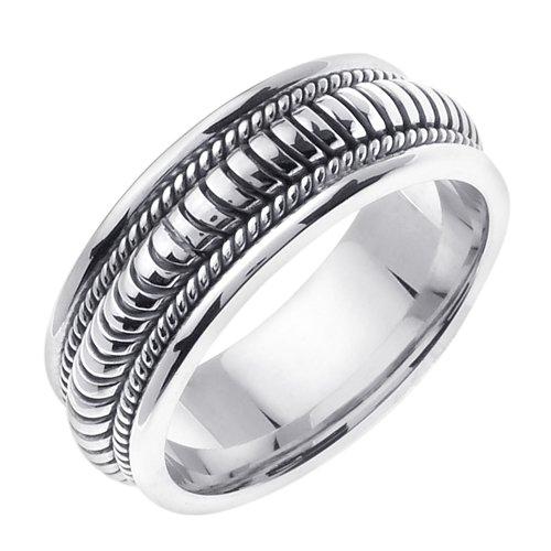 Plata de Ley mano trenzado anillos de boda banda para hombres (tamaños 9 – 14