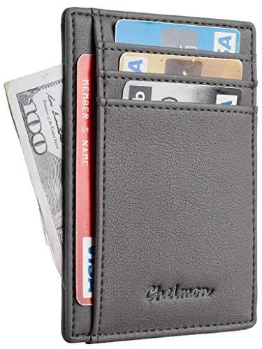 Chelmon Slim Wallet RFID Front Pocket Wallet Minimalist Secure Thin Credit Card Holder (GeNapa Turkish Grey) -