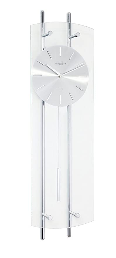 Contemporary Glass And Chrome Pendulum Wall Clock Amazoncouk