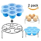 Silicone Egg Bites Molds Set,DELIWAY Baby Food Storage Trays with Lid PLUS Stainless Steel Egg Steam Rack for Instant Pot Accessories 5/6/8 qt(Blue)