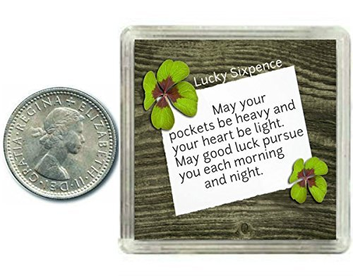 Lucky Silver Sixpence Coin Good Luck Charm Gift. Includes presentation keepsake box, great present idea for Birthday, Xmas, Retirement , Exams, Wedding, Anniversaries, Suitable for Husband, Wife, Friends or Colleagues