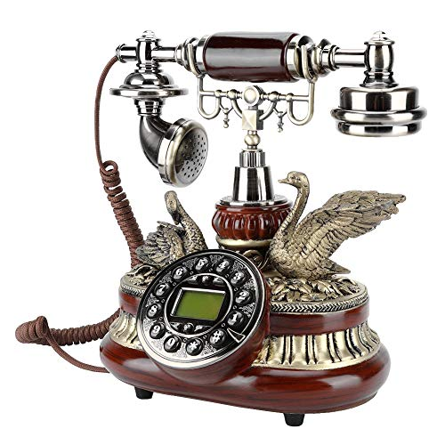 Retro Antique Phone, European Old Style Classic Landline Telephone with Dual FSK/DTMF System Automatic IP Function Caller ID Display for Office Home Living Room Decor, Wonderful Gift from fosa