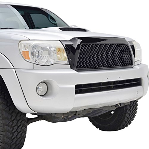 E-Autogrilles Glossy Black ABS Replacement Mesh Grille Grill With Shell for 05-11 Toyota Tacoma - Shell Grill