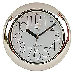 Telesonic Water Resistant Wall Clock with Quiet Sweep Movement - Silver