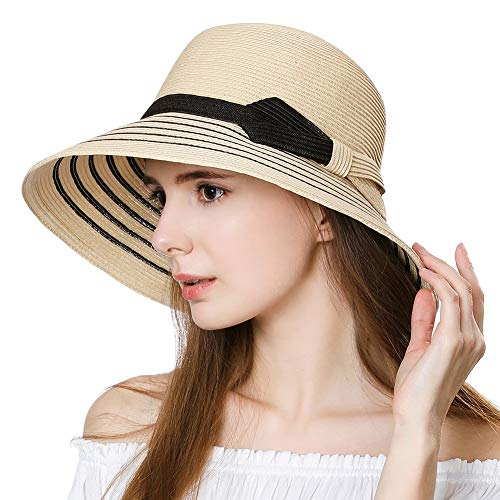 Jeff & Aimy Ladies Packable Straw Sunhat UPF 50 with Chin Strap Bowknot Floppy Wide Brim Panama Fedora Beach Sun Hat Size Adjustable Beige 55-58CM