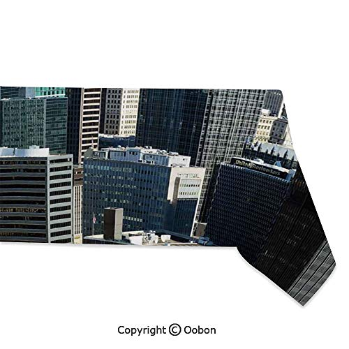 oobon Space Decorations Tablecloth, American Architecture Pittsburgh PA Skyline Pennsylvania Modern Cityscape, Rectangular Table Cover for Dining Room Kitchen, W60xL120 inch]()
