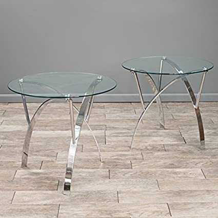 fb6bf7a03375 Image Unavailable. Image not available for. Color  Marin Round Glass End  Table ...