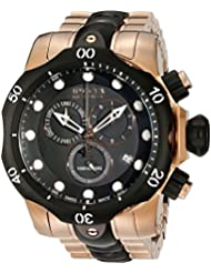 Invicta Mens 5728 Reserve Collection Black Ion-Plated and Rose Gold-Tone Chronograph Watch