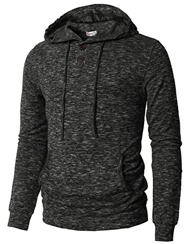 H2H Mens Casual Hoodies Long-Sleeve Henley in Heathered Fabric Charcoal US XL/Asia 2XL (CMTTL089)