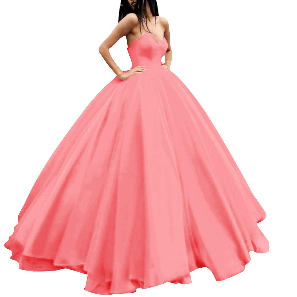 Coral MorySong Women's Sweetheart Prom Ball Gown Lace Up Pageant Quinceanera Dress