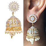 Swasti Jewels Zircon Fashion Jewelry Traditional Ethnic Pearls Jhumka Earrings for Women